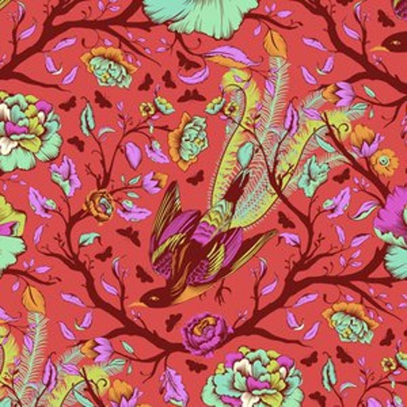 Fat Quarter Tail Feathers in Poppy  - Tula Pink's All Stars Fabric for Free Spirit Fabrics