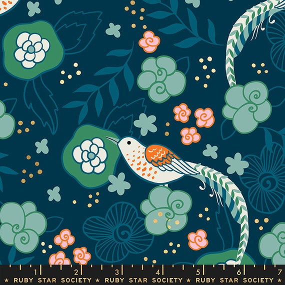Purl by Sarah Watts -- Yarn Pheasant in Dark Teal (RS20332-13M) by Ruby Star Society for Moda -- Fat Quarter