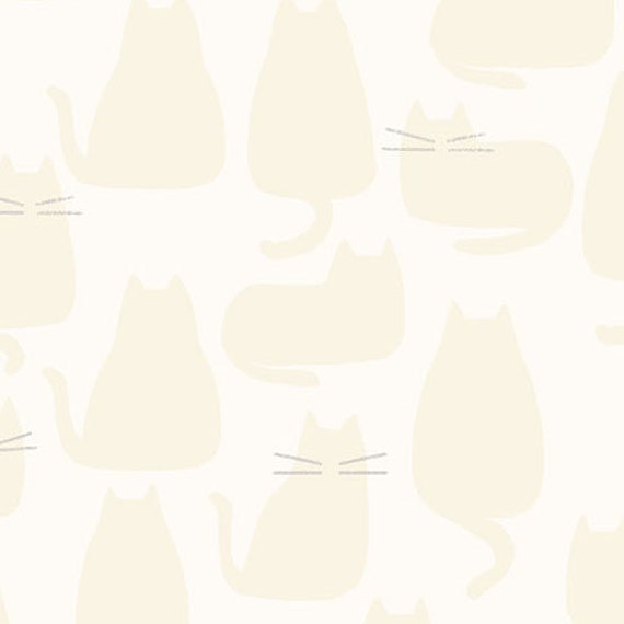 Whiskers and Dash by Sarah Golden for Andover Fabrics - Fat Quarter of Whiskers in Creme (A-9168-L)