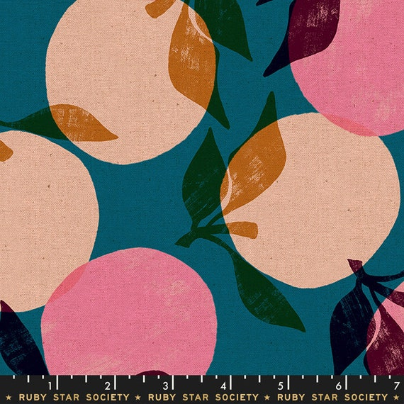 Peaches, RS5022-16L Teal, Ruby Star Society Fabric, 100% Cotton Linen Canvas -- Fat Quarter