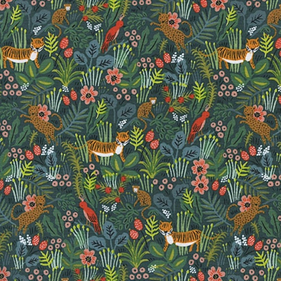 Menagerie -- Jungle in Hunter by Rifle Paper Company for Cotton and Steel