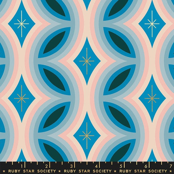 Geometrics in Metallic Bright Blue (RS000921M) by Ruby Star Society for Moda -- Fat Quarter