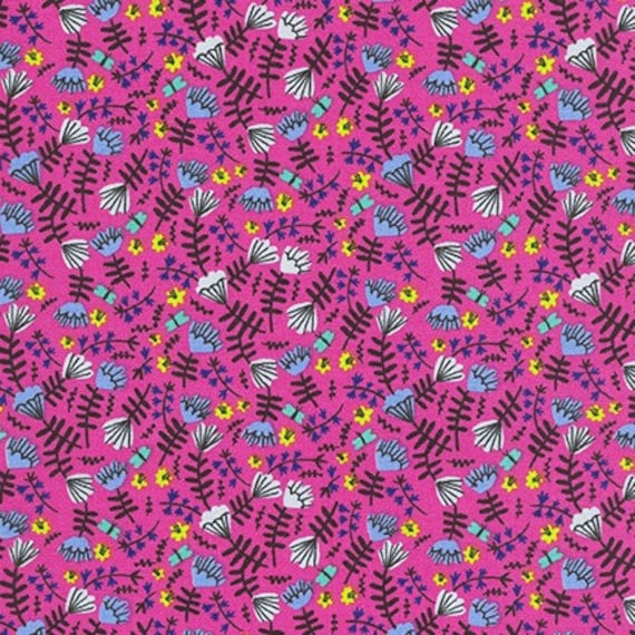 Robert Kaufman -    AIL-19559-110 HOT PINK by Hello!Lucky from Wild and Free - Fat Quarter