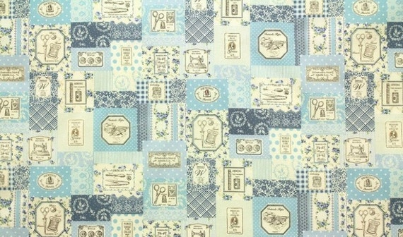 Japanese cotton fat quarter by Yuwa - sewing theme in blue
