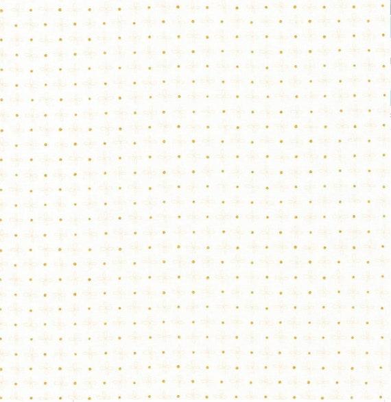 Robert Kaufman - Wayside by Karen Lewis - Gold dot on white (AWIM-18691-1)