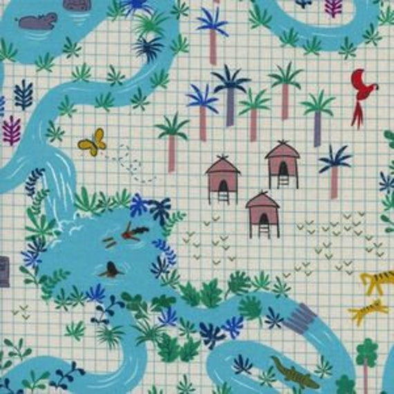 Lagoon -- Lagoon Map in Natural by Rashida Coleman Hale for Cotton and Steel