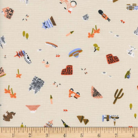 Amalfi --  Fat Quarter of Explorer in Natural by Rifle Paper Company for Cotton and Steel