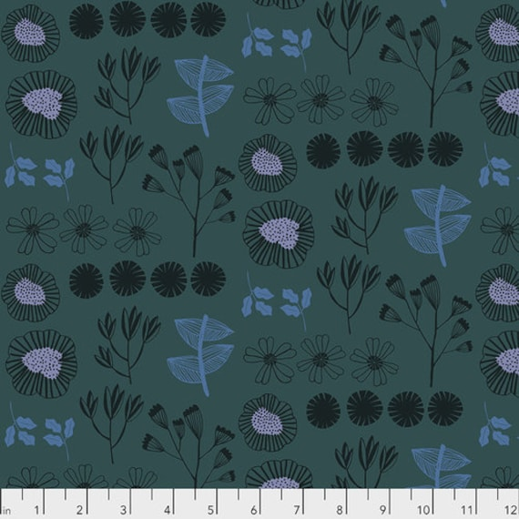 After the Rain by Bookhou for Anna Maria Horner Conservatory Chapter 3 with Free Spirit Fabrics- Fat Quarter of Inventory in Marine