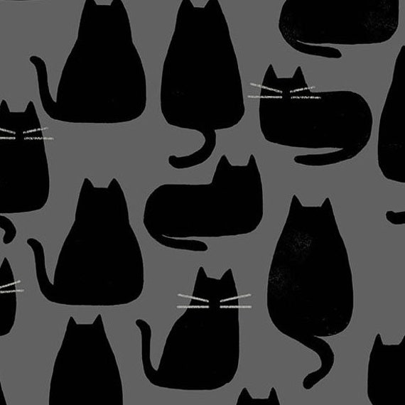Whiskers and Dash by Sarah Golden for Andover Fabrics - Fat Quarter of Whiskers in Coal(A-9168-C)