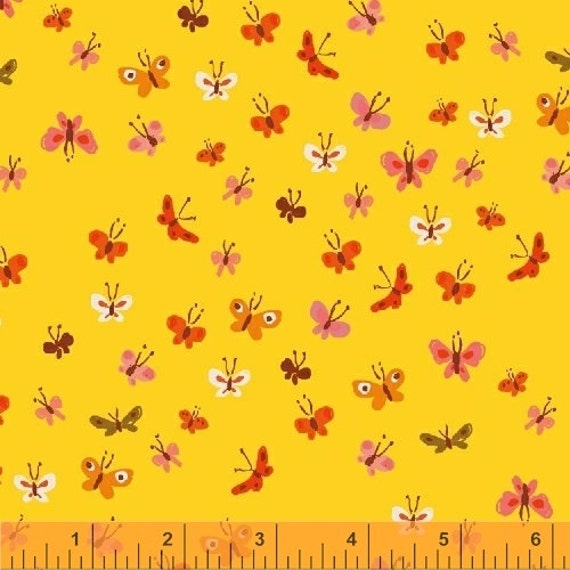 Heather Ross Tiger Lily for Windham Fabrics - Butterflies in Yellow
