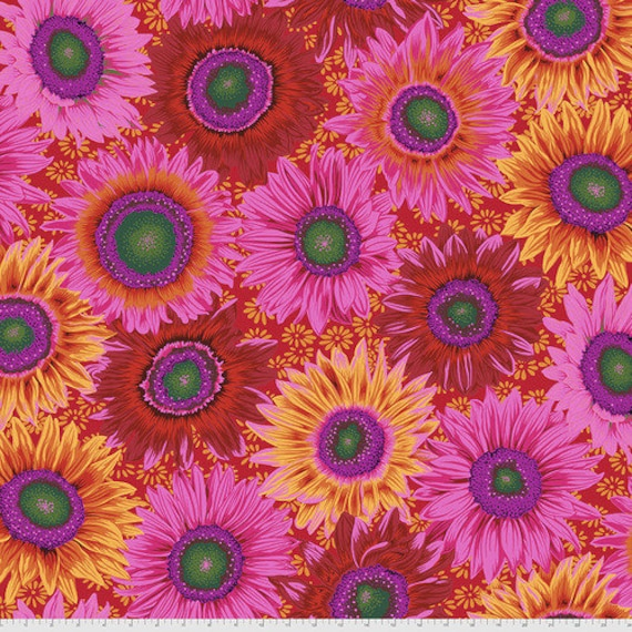 Kaffe Fassett Collective August 2021 -- Fat Quarter of Philip Jacobs Van Gogh in Red