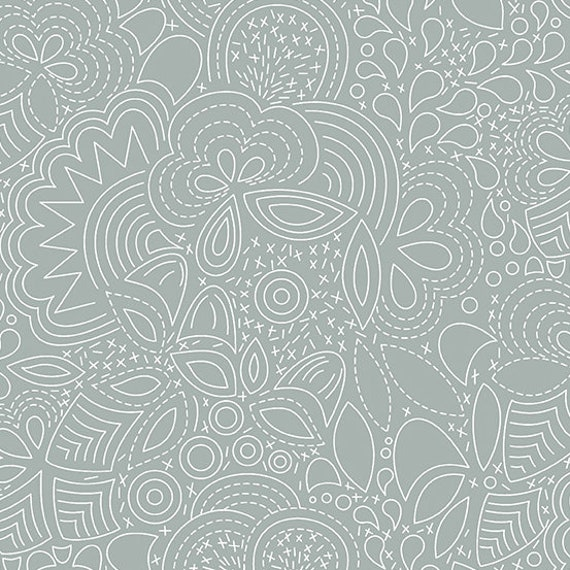 Hopscotch Century Prints by Alison Glass for Andover Fabrics - Fat Quarter of Stitched in Smoke