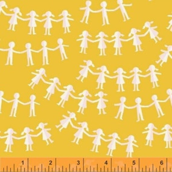 Heather Ross Kinder for Windham Fabrics - Fat Quarter Paper Dolls in Yellow