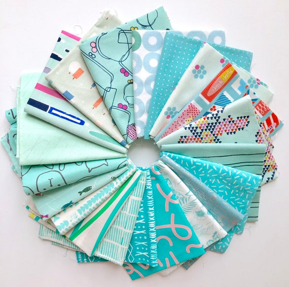 Cotton and Steel bundle of 20 aqua fabrics as shown in photo
