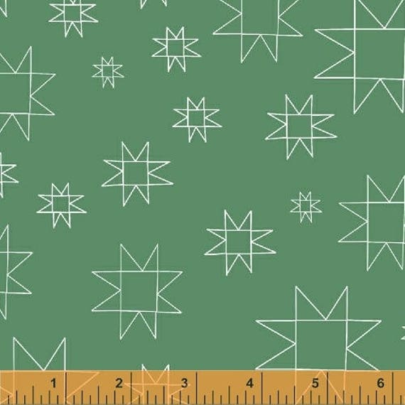 Daisy Chain by Annabel Wrigley for Windham Fabrics - Star in Green