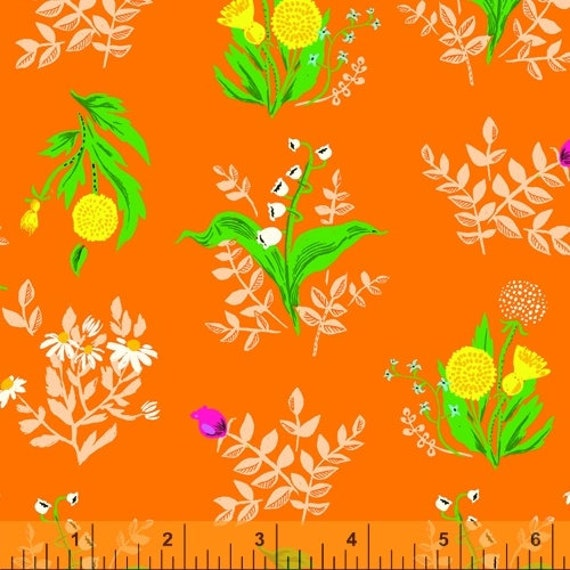 Heather Ross 20th Anniversary Collection for Windham Fabrics - Fat Quarter of Bouquet in Orange