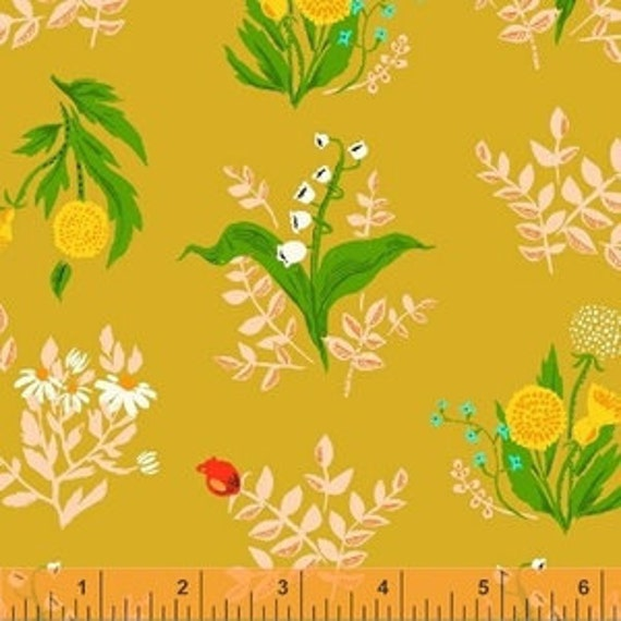 Heather Ross Sleeping Porch for Windham Fabrics - Fat Quarter Bouquet in Gold