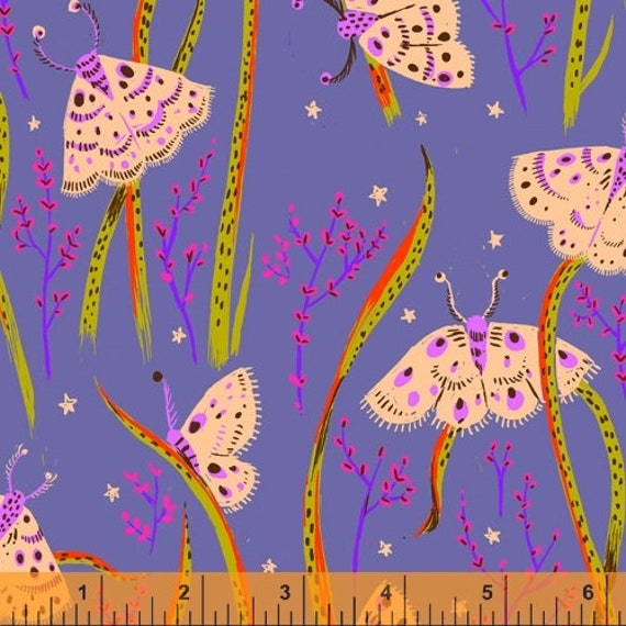 Heather Ross 20th Anniversary Collection for Windham Fabrics - Fat Quarter of Moths in Twilight