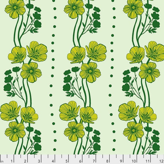 Triple Take by Anna Maria Horner for Anna Maria Horner Conservatory 4 with Free Spirit Fabrics - Fat Quarter of New Buttercups in Lime