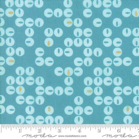 Day in Paris. -- Metallic Twinkle in Teal (1683 17M) by Zen Chic for Moda -- Fat Quarter