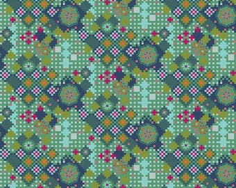 Love Always by Anna Maria Horner Fabrics for Free Spirit Fabrics - Fat quarter of Postage Due in Jade