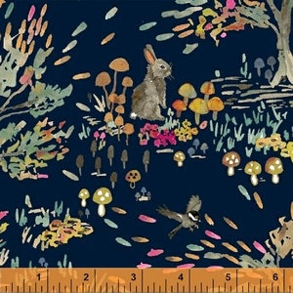 Enchanted Forest by Betsy Olmsted for Windham Fabrics - Fat Quarter of Shady Meadow Toile in Navy