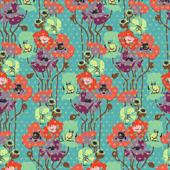 Floral Retrospective by Anna Horner for Free Spirit Fabrics - Raindrop Poppies in Candy