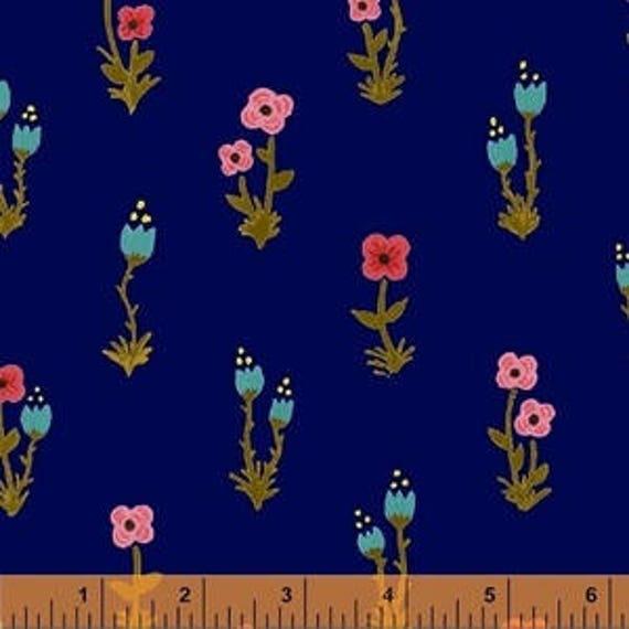 Meriwether by Amy Gibson for Windham Fabrics - Folk Fleur in Nightfall - Fat Quarter
