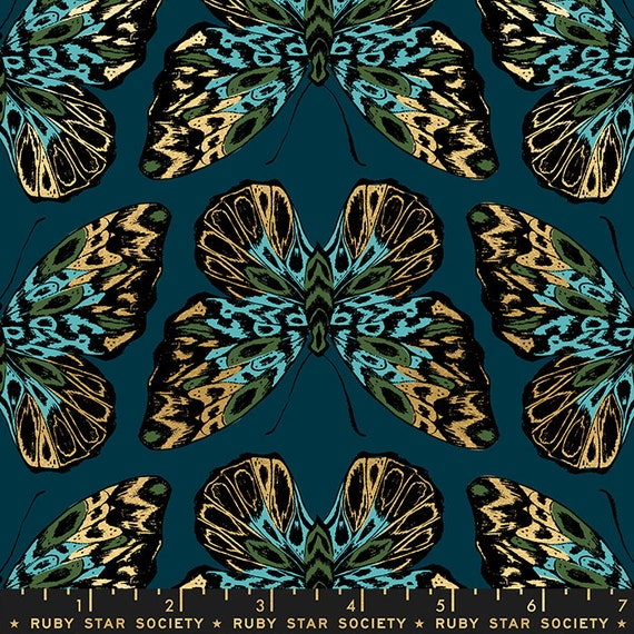 Tiger Fly -- Ruby Star Society Fabric, RS2014-13M  Tiger Fly in Metallic Dark Teal by Sarah Watts -- Fat Quarter