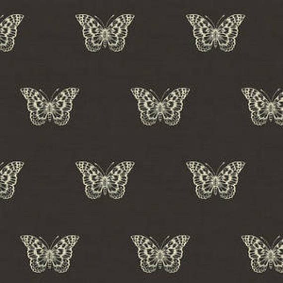 Botanica by Makower for Andover Fabrics - Butterfly in Grey - Fat Quarter