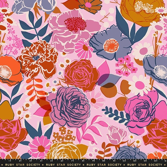 Ruby Star Society Bouquet Peony from Rise Collection by Melody Miller -- Wide Back 108 inches - 25 cm  increment