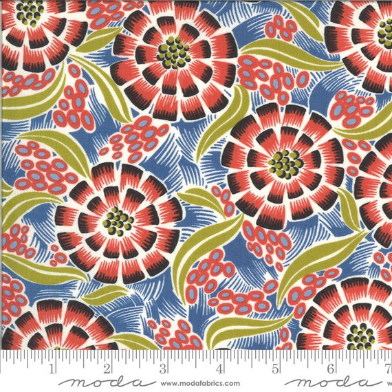 Moda Winkipop by Jen Kingwell -- Fat Quarter of 18190 17 Sea Anenome in Blue