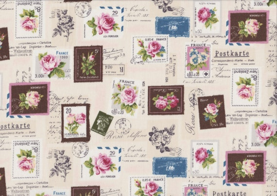 Japanese cotton fat quarter by Yuwa - Postage stamps in cream