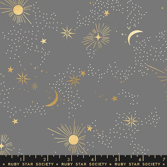 Florida Cosmos in Slate Grey RS2028 18M by Sarah Watts -Ruby Star Society - Fat Quarter