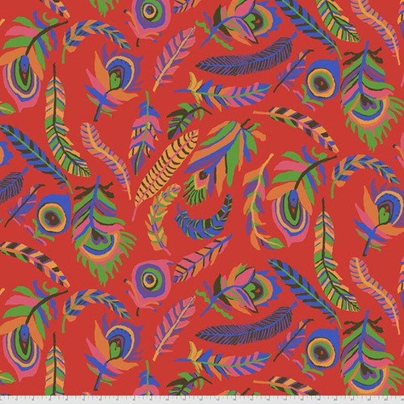 Kaffe Fassett Collective August 2021 -- Fat Quarter of Brandon Mably Tickle My Heart in Red