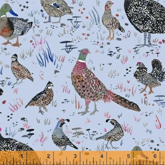 Fox Wood by Betsy Olmsted for Windham Fabrics - Fat Quarter of 51920-4, Bird Season in Blue
