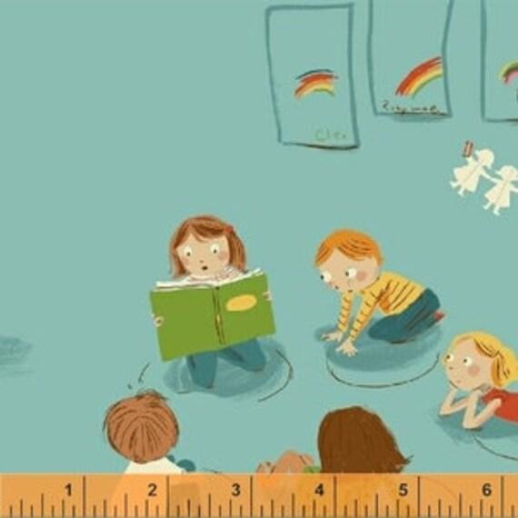 Heather Ross Kinder for Windham Fabrics - Fat Quarter Paper Kindergarten in Blue