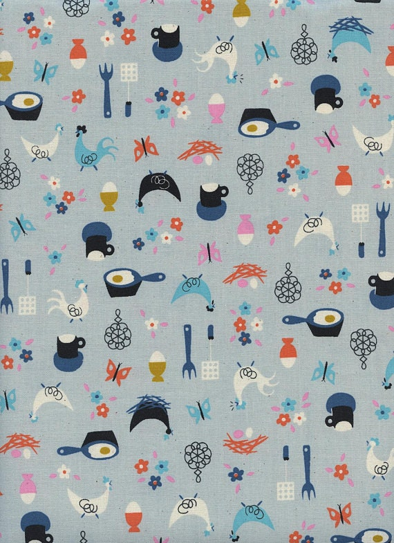 Welsummer by Kimberly Kight for Cotton and Steel -- Fat Quarter of Kitchen Kitsch in Light Blue