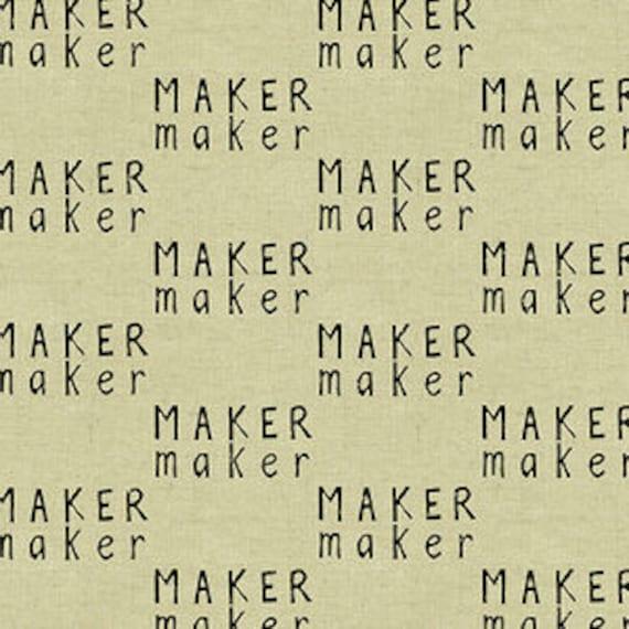 Tiger Plant by Sarah Golden for Andover Fabrics - Mini Maker Maker in Dark -- Cotton/Linen - Fat Quarter