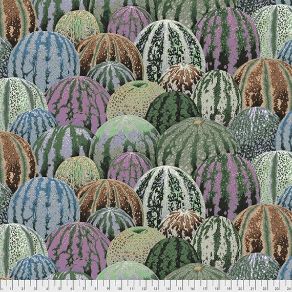 Kaffe Fassett Collective August 2020 -- Fat Quarter of Philip Jacobs Watermelons in Grey