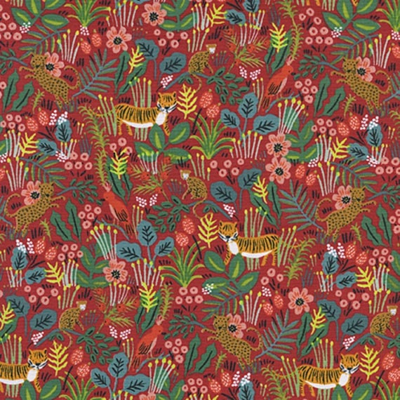Menagerie -- Jungle in Red by Rifle Paper Company for Cotton and Steel