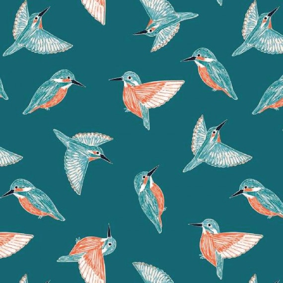 Rivelin Valley by Bethan Janine for Dashwood Studio - Fat Quarter of Kingfisher on Teal
