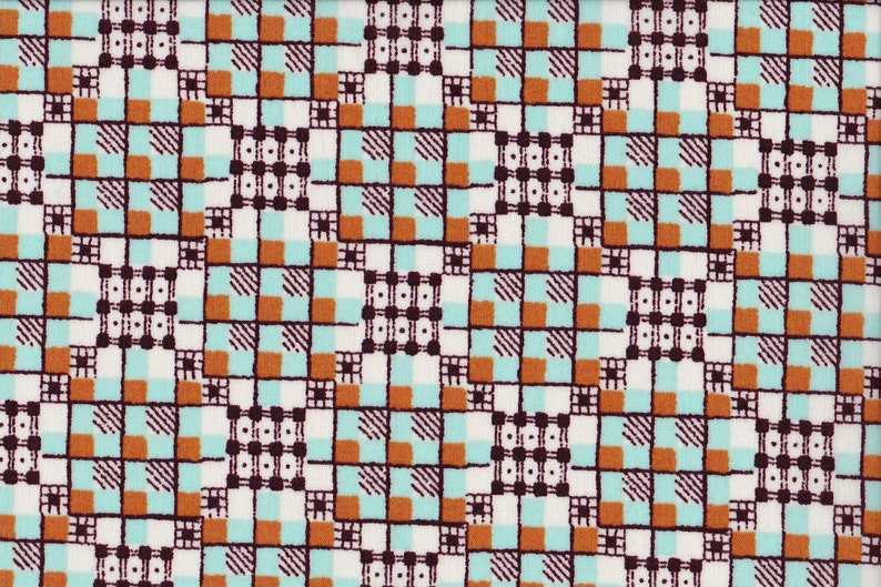 Geostyle Japanese cotton fat quarter by Kei - Geogrid in tangerine and aqua