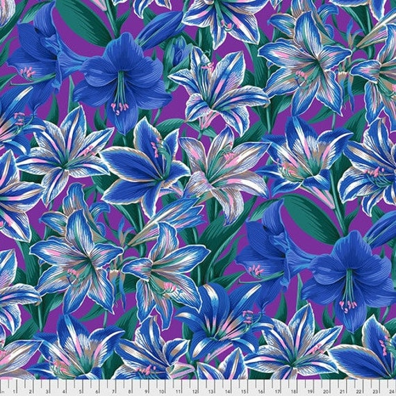 Kaffe Fassett Collective August 2020 -- Fat Quarter of Philip Jacobs Armaryllis in Blue