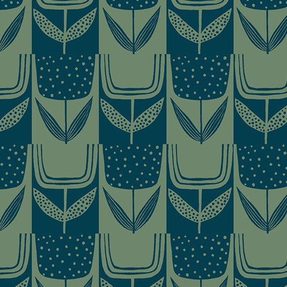 Perennial by Sarah Golden for Andover Fabrics - Fat Quarter of Patchwork Tulips in Bottle Green