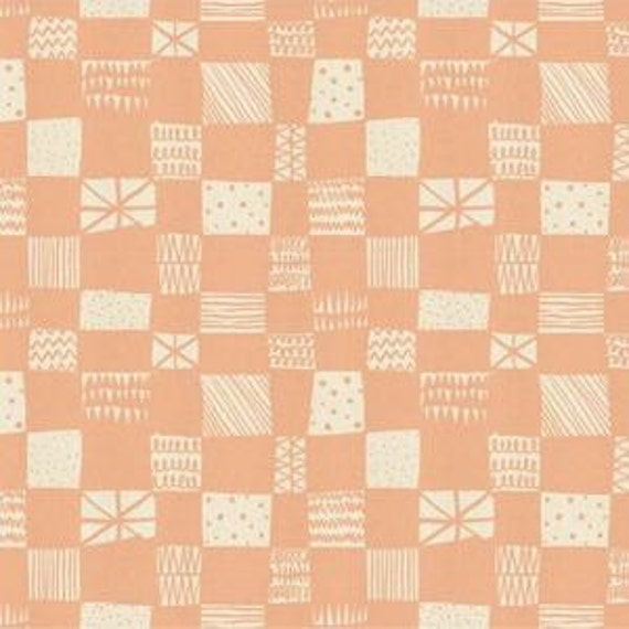 In Stock! Printshop Grid in Peach by Alexia Marcell Abegg for Cotton and Steel
