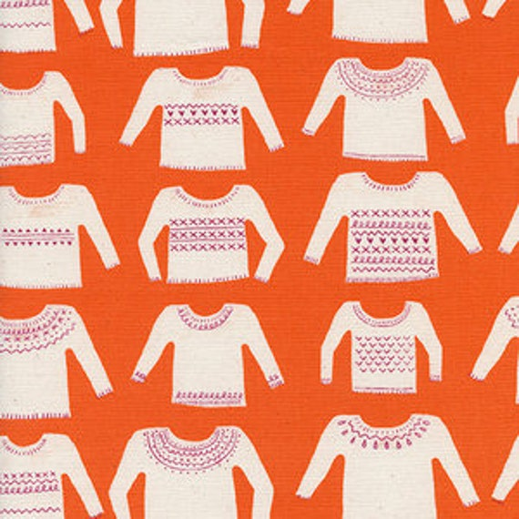 Cozy -- My Favorite Sweater in Orange by Cotton and Steel House Designer