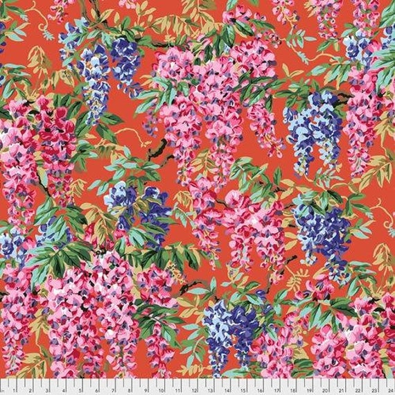 Kaffe Fassett Collective August 2020 -- Fat Quarter of Philip Jacobs Wisteria in Red
