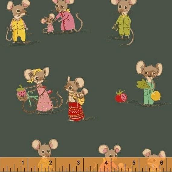Heather Ross Trixie for Windham Fabrics - Fat Quarter City Mouse in Green