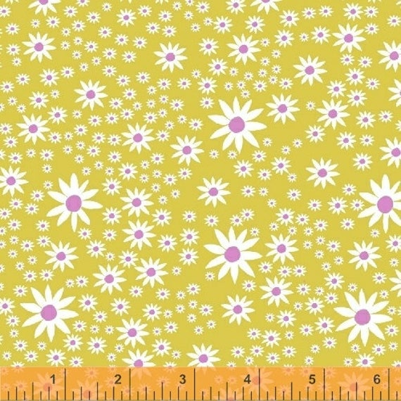 Daisy Chain by Annabel Wrigley for Windham Fabrics - Daisies in Chartreuse